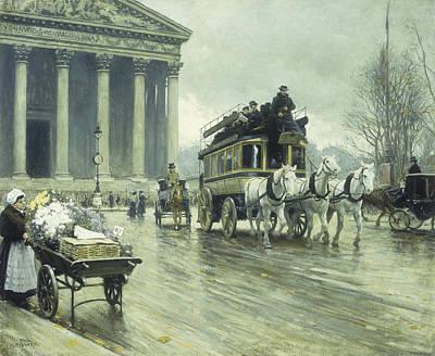 Le Boulevard A La Madeleine Print by Paul Fischer
