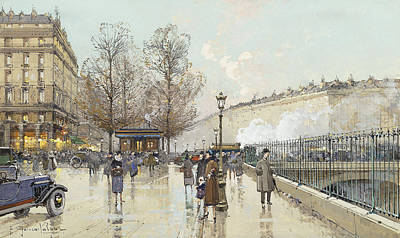 French Signs Drawing - Le Boulevard Pereire Paris by Eugene Galien-Laloue