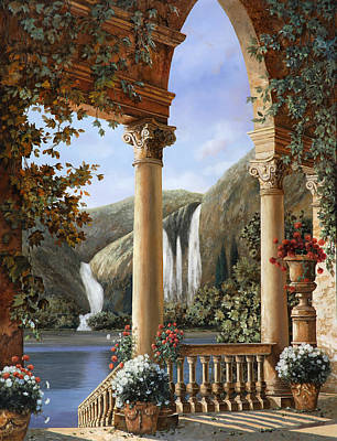 Columns Painting - Le Cascate by Guido Borelli