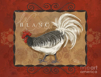 Rural Scenes Mixed Media - Le Coq Rooster Blanc by Shari Warren