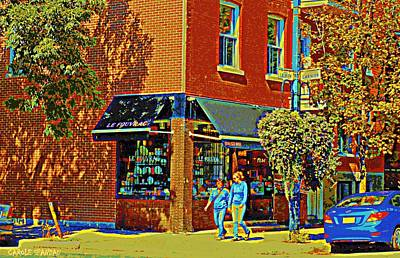 Le Fouvrac Foods Chocolates And Coffee Shop Corner Garnier And Laurier Montreal Street Scene Print by Carole Spandau