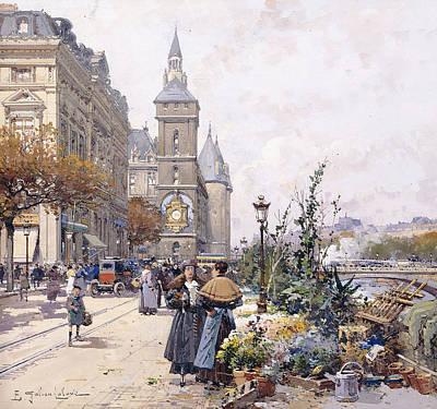 Jacques Painting - Le Quai Aux Fleurs And Hotel by Eugene Galien-Laloue