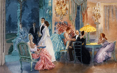 Evening Gown Painting - Le Soir Au Chateau by Henri Lucien Doucet