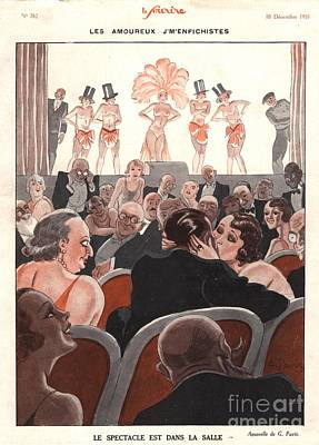 Nineteen-thirties Drawing - Le Sourire 1930s France Glamour Kissing by The Advertising Archives