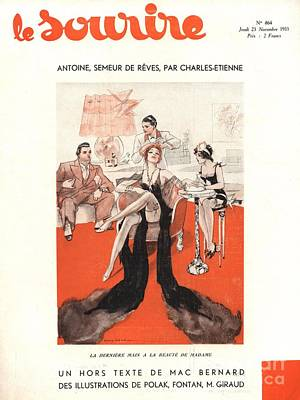 Magazine Cover Drawing - Le Sourire 1933 1930s France Glamour by The Advertising Archives