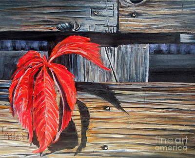 Leaf Shadow 2 Print by Marilyn  McNish
