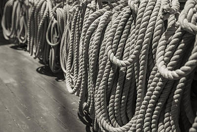 League Of Rope Black And White Sepia Print by Scott Campbell
