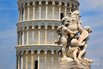 Italy Mediterranean Art Tuscany Photograph - Leaning Tower And Sculpture by Inge Johnsson