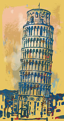 Leaning Tower Of Pisa  - Pop Stylised Art Poster   Print by Kim Wang