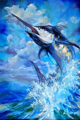 Ocean Painting - Leaping Marlin by Tom Dauria