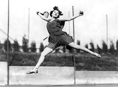 Leaping Tennis Woman Print by Underwood Archives