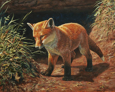 Red Fox Pup - Learning Original by Crista Forest