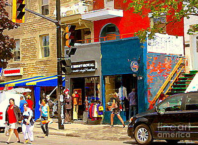 Store Fronts Painting - Leather Garments Cuir Monde Mont Royal Scala Pour Hommes Busy Montreal City Scene Carole Spandau  by Carole Spandau