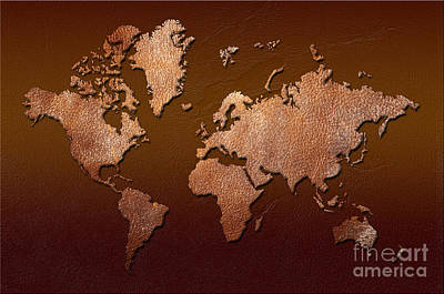 Burmese Python Digital Art - Leather World Map by Zaira Dzhaubaeva