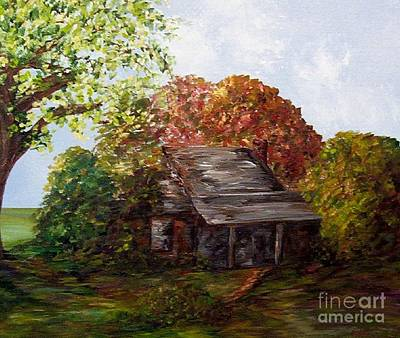 Log Cabins Mixed Media - Leaves On The Cabin Roof by Eloise Schneider