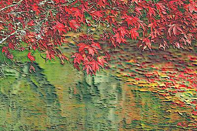 Autumn Leaf On Water Mixed Media - Leaves On The Creek 3 by L Brown