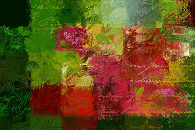 Red Abstract Digital Art - Leaves Rhapsody - 070097100c by Variance Collections