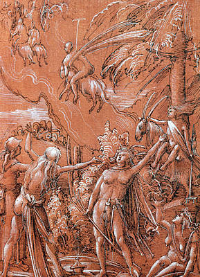 Goat Drawing - Leaving For The Sabbath by Albrecht Altdorfer