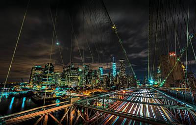 Street Photograph - Leaving New York City Via The Brooklyn Bridge by David Morefield