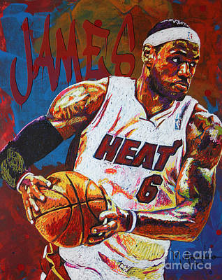 Lebron James Painting - Lebron James 3 by Maria Arango