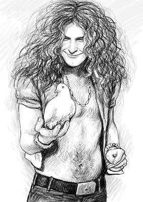 Led Zeppelin Art Drawing Sketch Portrait Print by Kim Wang
