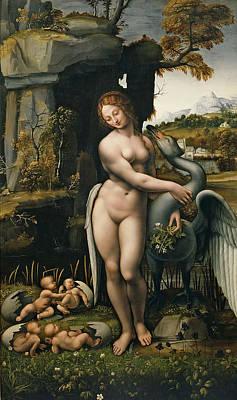 Leda Painting - Leda And The Swan by Francesco Melzi