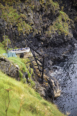 Ledge Boat Carrick-a-rede Northern Ireland Print by Betsy C Knapp