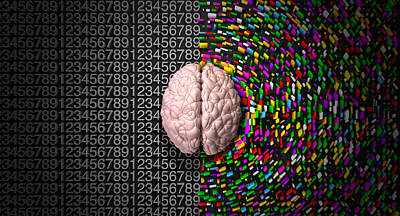 Brain Digital Art - Left Brain Right Brain by Allan Swart