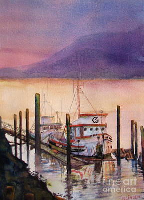 Docks And Boat Painting - Left To Rust by Sandy Linden