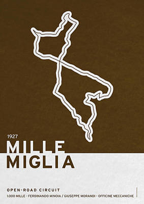 Limited Edition Digital Art - Legendary Races - 1927 Mille Miglia by Chungkong Art