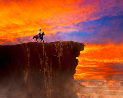Legends Of The Wild West Sunset Print by Mark E Tisdale