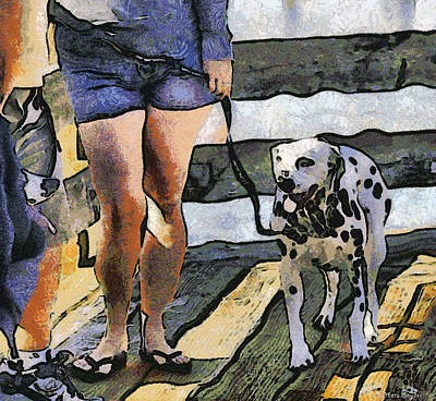 Leash Digital Art - Leggy Girl And Dog Spot by Barbara Snyder