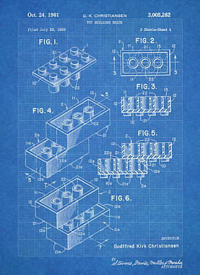 Lego Blocks Blueprint Print by Stephen Chambers