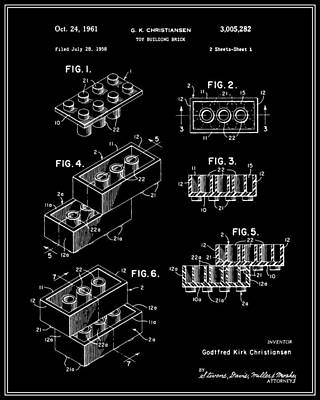 Lego Building Brick Patent - Black Print by Finlay McNevin