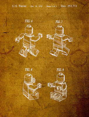 Lego Minifig Vintage Patent 2 On Worn Canvas Print by Design Turnpike
