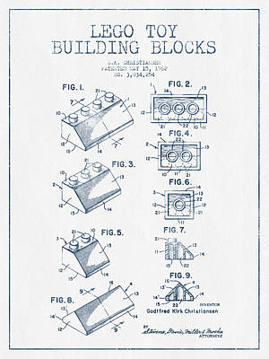 Lego Toy Building Blocks Patent - Blue Ink Print by Aged Pixel
