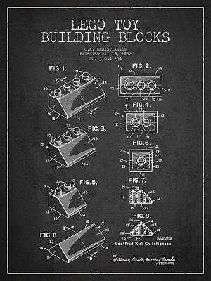 Lego Toy Building Blocks Patent - Dark Print by Aged Pixel