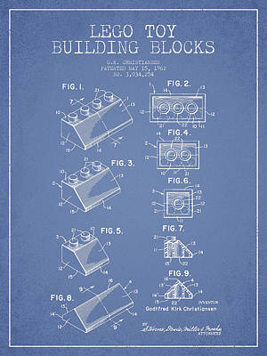 Lego Toy Building Blocks Patent - Light Blue Print by Aged Pixel