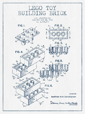 Lego Toy Building Brick Patent - Blue Ink Print by Aged Pixel