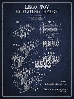 Lego Toy Building Brick Patent - Navy Blue Print by Aged Pixel