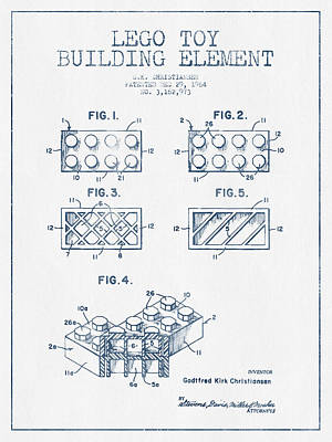 Lego Toy Building Element Patent - Blue Ink Print by Aged Pixel
