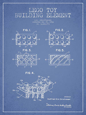 Lego Toy Building Element Patent - Light Blue Print by Aged Pixel