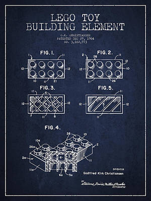 Lego Toy Building Element Patent - Navy Blue Print by Aged Pixel