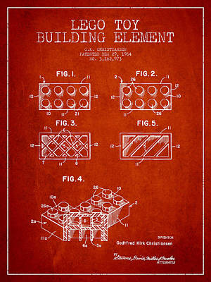 Lego Toy Building Element Patent - Red Print by Aged Pixel