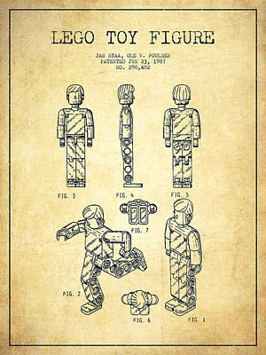 Toys Digital Art - Lego Toy Figure Patent - Vintage by Aged Pixel
