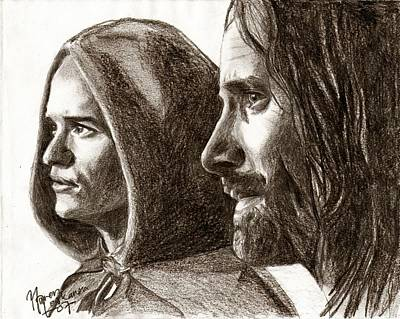 Orlando Bloom Drawing - Legolas And Aragorn by Maren Jeskanen