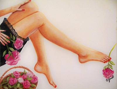 Girl Painting - Legs And Roses by Joni McPherson