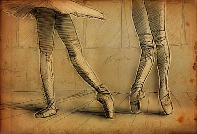Tutus Drawing - Legs by H James Hoff