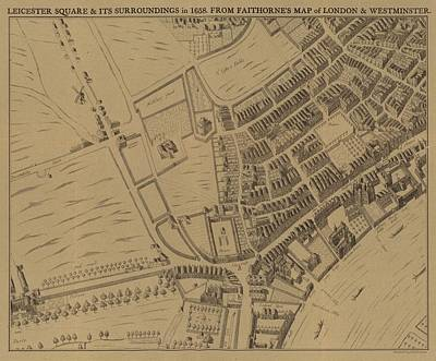 Border Drawing - Leicester Square And Its Surroundings In 1658 by English School