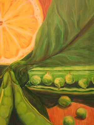 Spinach Painting - Lemon And Peas II by S J Killian
